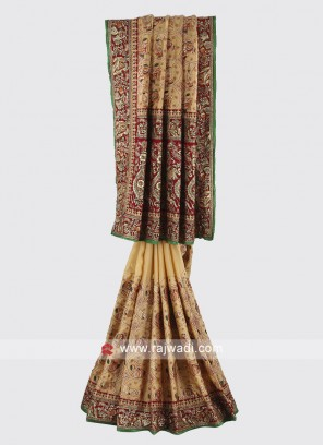 Beige and maroon color gajji silk saree.