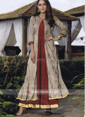Beige and Maroon Soft Silk Jacket Kurti