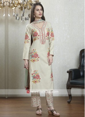 Beige and multi color salwar suit