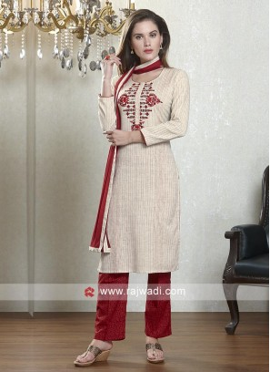 Beige and red color salwar suit