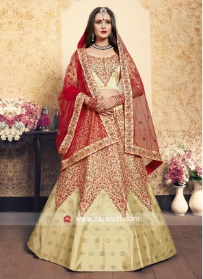 Beige and Red Lehenga Choli