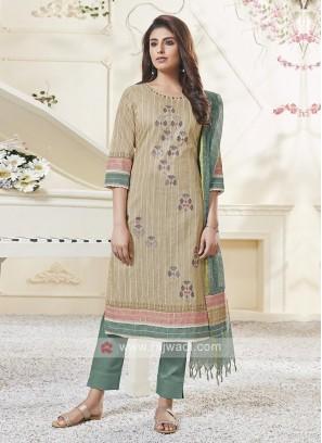 Shagufta Beige And Teal Color Pant Salwar Suit