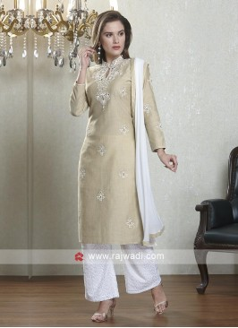 Beige and white color salwar suit