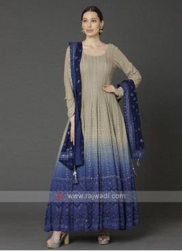 Beige & Blue Anarkali Suit With Dupatta