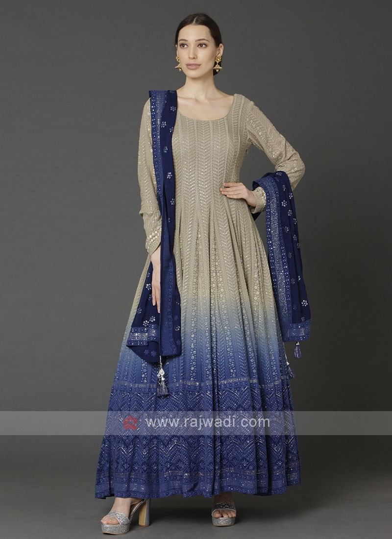 Beige & Blue Anarkali Suit With Dupatta