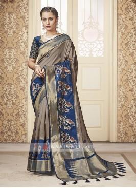 Beige & Blue Banarasi Silk Saree