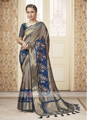 Beige & Blue Banarasi Silk Saree