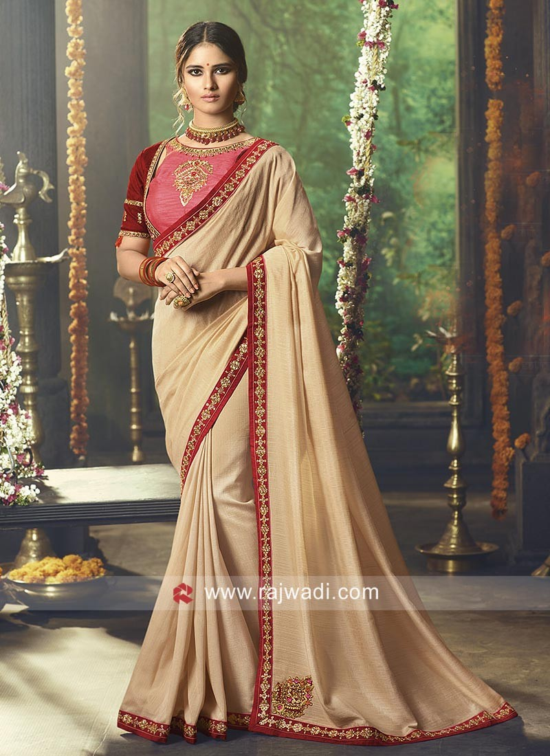 Beige Border Work Saree with Blouse