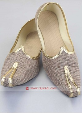 Beige Color Jute Fabric Mojari