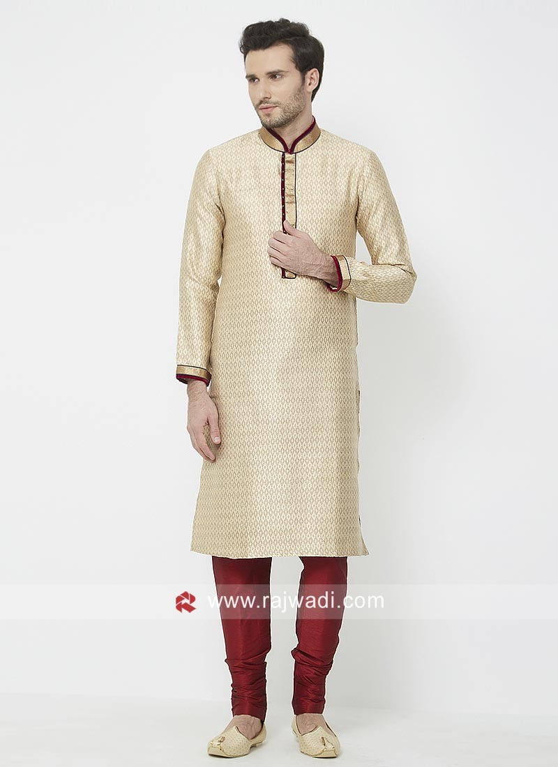 Beige Color Kurta Pajama