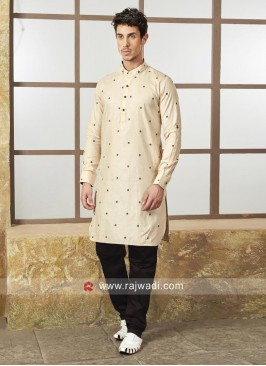 Beige Color Kurta With Black bottom