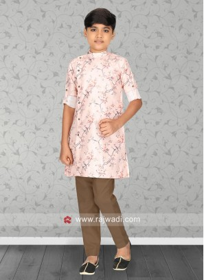 Light Pink Printed Kurta Set