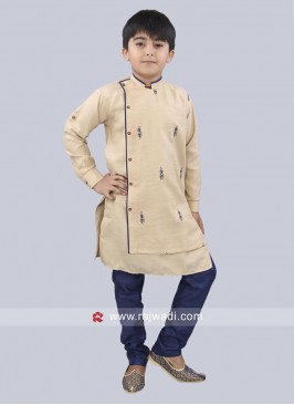 Beige Color kurta With Navy Bottom