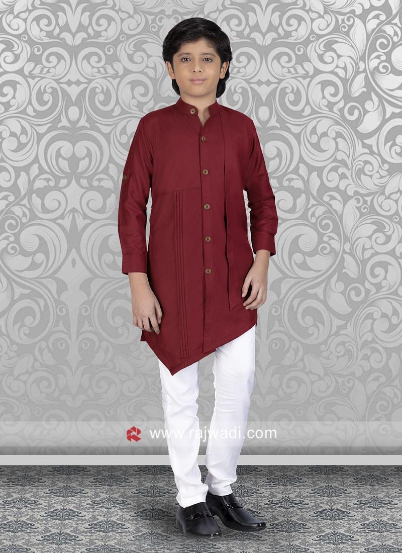 Charming Maroon Cotton Silk Kurta Set