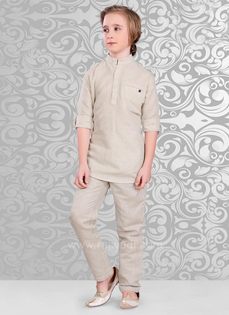 Beige Color Linen Kurta and Matching Bottom