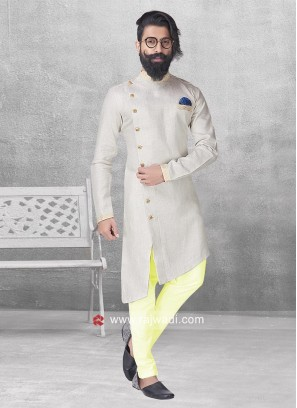 Beige Color Long Sleeve Pathani Suit