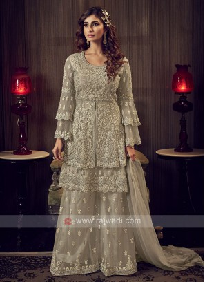 Beige Color Net Dress Material