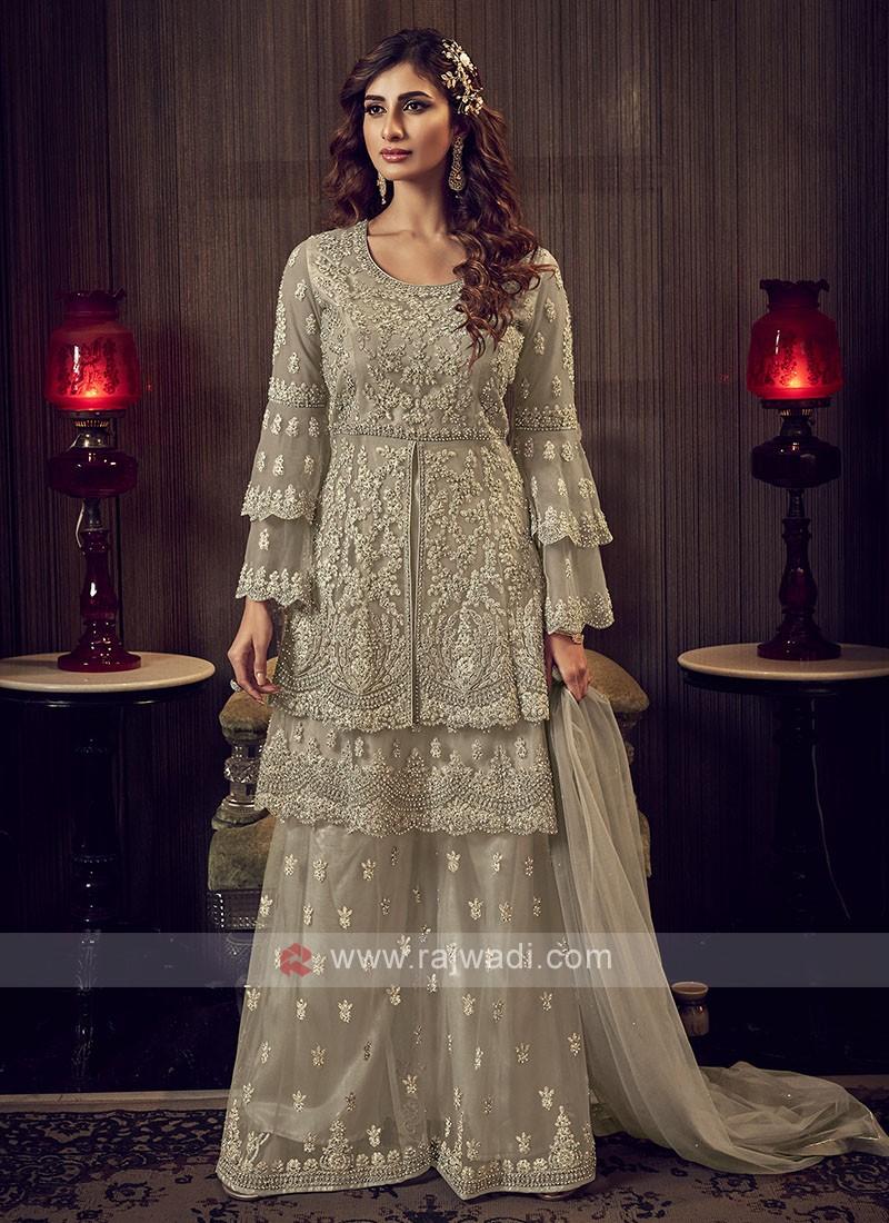Beige Color Net Dress Material