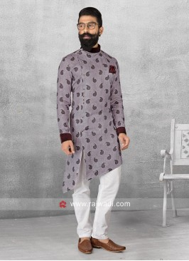 Light Maroon Color Pathani With White Bottom