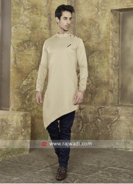 Beige Color Pathani With Navy Bottom