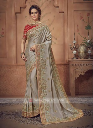 Beige Color Saree For Wedding
