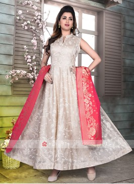 Beige Color Silk Anarkali suit