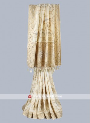 Beige color silk saree