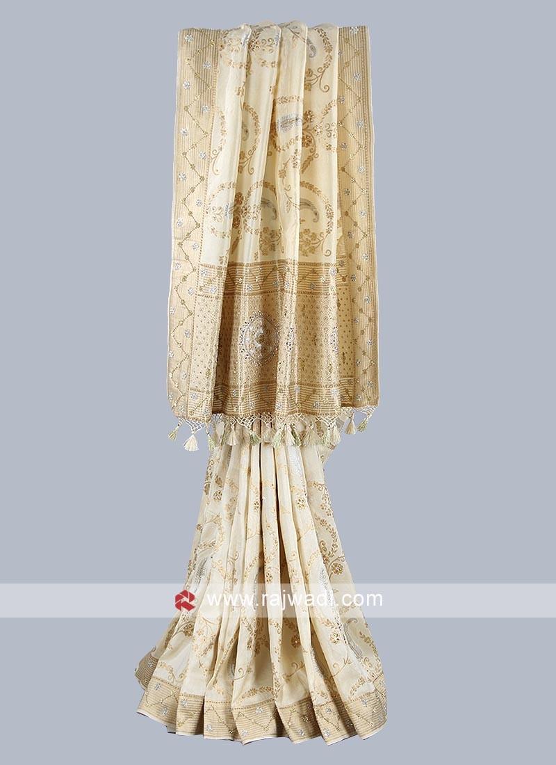 Beige color silk saree