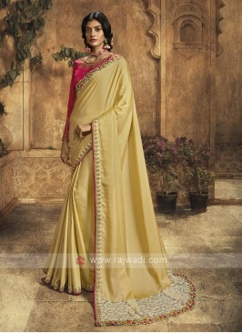 Light yellow Color Silk Saree