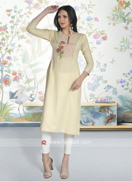 Beige Color Soft Cotton Kurti