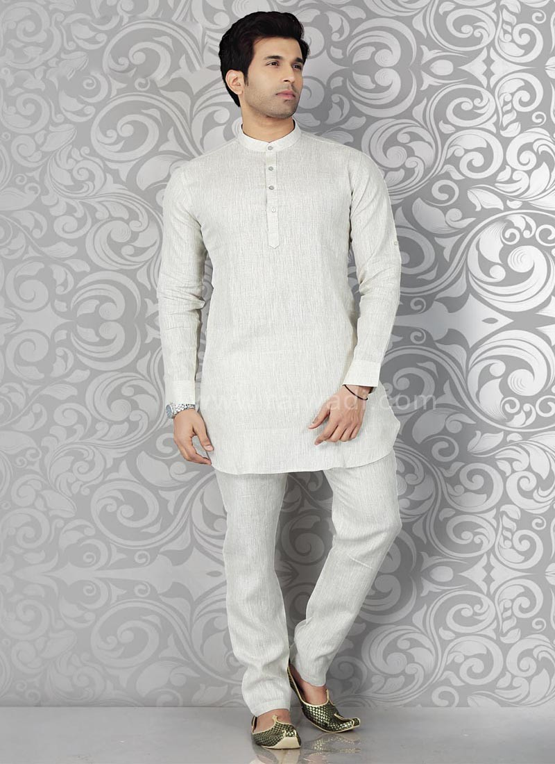 Beige Colored Kurta Pajama