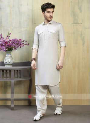Cream Color Pathani Suit