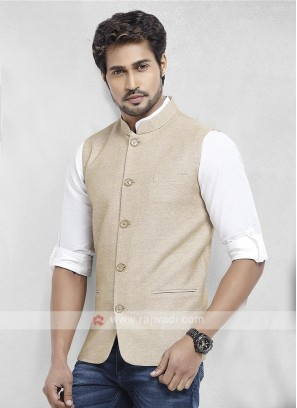 Beige Cotton Silk Nehru Jacket