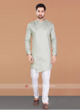 Beige & White Cotton Silk Kurta Pajama