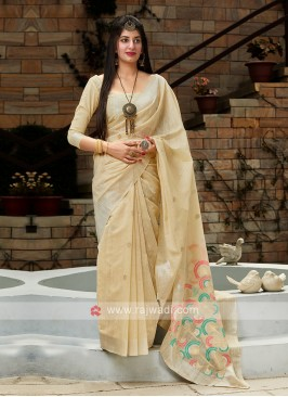 Beige Cotton Silk Saree
