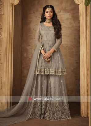 Beige Gharara Suit in Net Material