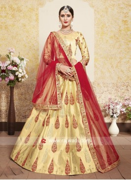 Beige Lehenga Choli with Red Dupatta