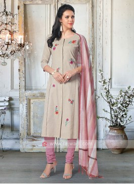Beige & Light Purple Salwar kameez