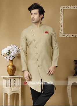 Beige Linen Kurta For Party