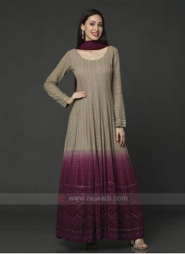 Beige & Magenta Anarkali Suit With Dupatta
