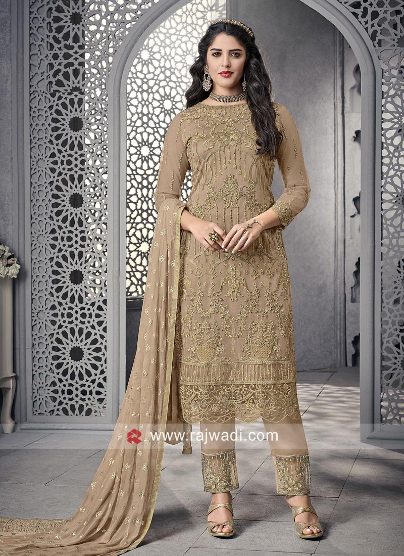 Beige Party Wear Salwar Suit