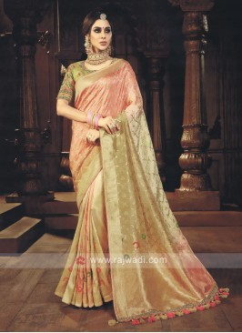 Beige & Peach Shaded Saree