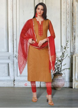 Mustard Yellow & Red Salwar Kameez With Dupatta