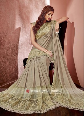 Beige Saree in Lycra Material