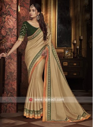 Beige Saree with Bottle Green Blouse Fabric