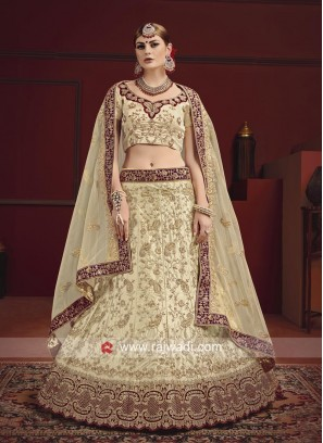 Beige Satin Lehenga Choli With Dupatta