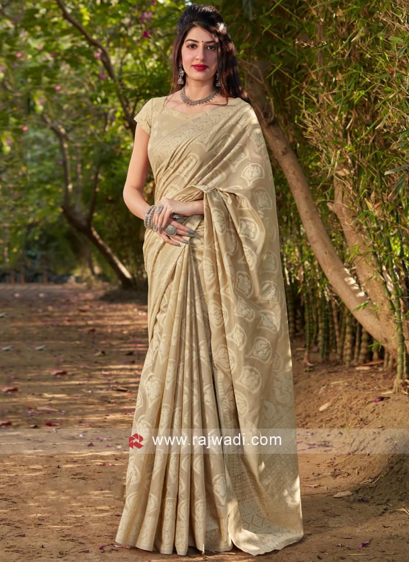 Beige Silk Ceremonial Traditional Saree