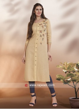 Beige Thread Work Kurti