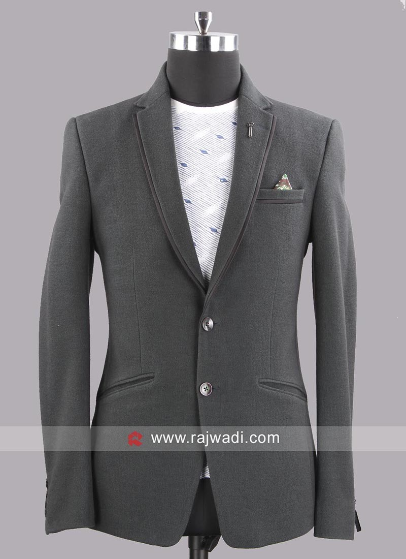 Bennevis Slim Fit Emboss Blazer In Bottle Green