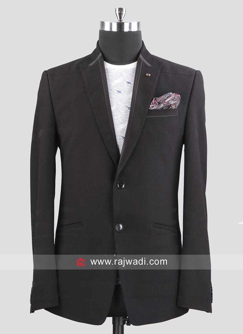 Bennevis Terry Rayon Black Blazer For Mens